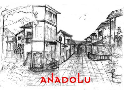 Karakalem Bir Sokak İmgesel Çizim Örneği Çukurova