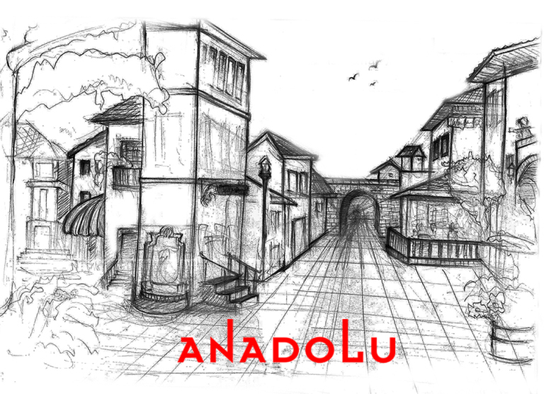 Karakalem Bir Sokak İmgesel Çizim Örneği İzmir