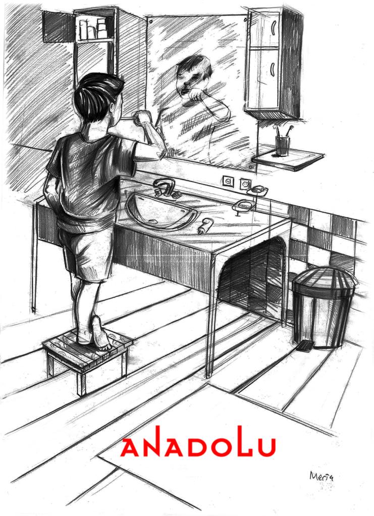 Karakalem Diş Fırçalayın Çocuk Çizimleri Çukurova
