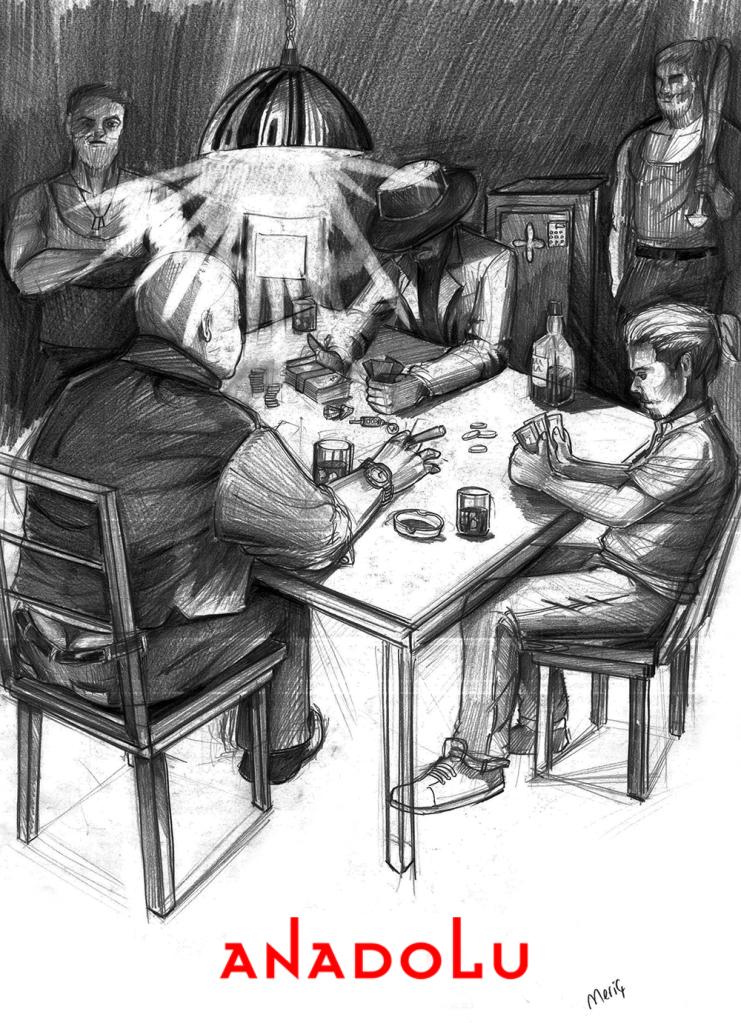 İmgesel karakalem kahvede oyun oynayanlar Çukurova