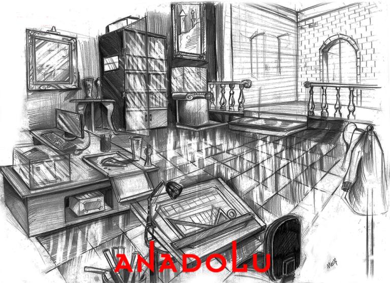 İmgesel Karakalem Bir Çalışma Odası Çizimi Çukurova